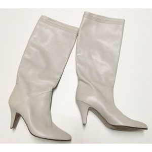 Grey Leather Boots Size 8AA